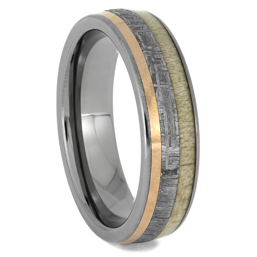 Antler & Meteorite Men's Wedding Band with Rose Gold, Size 9.5-RS11427 - Jewelry by Johan