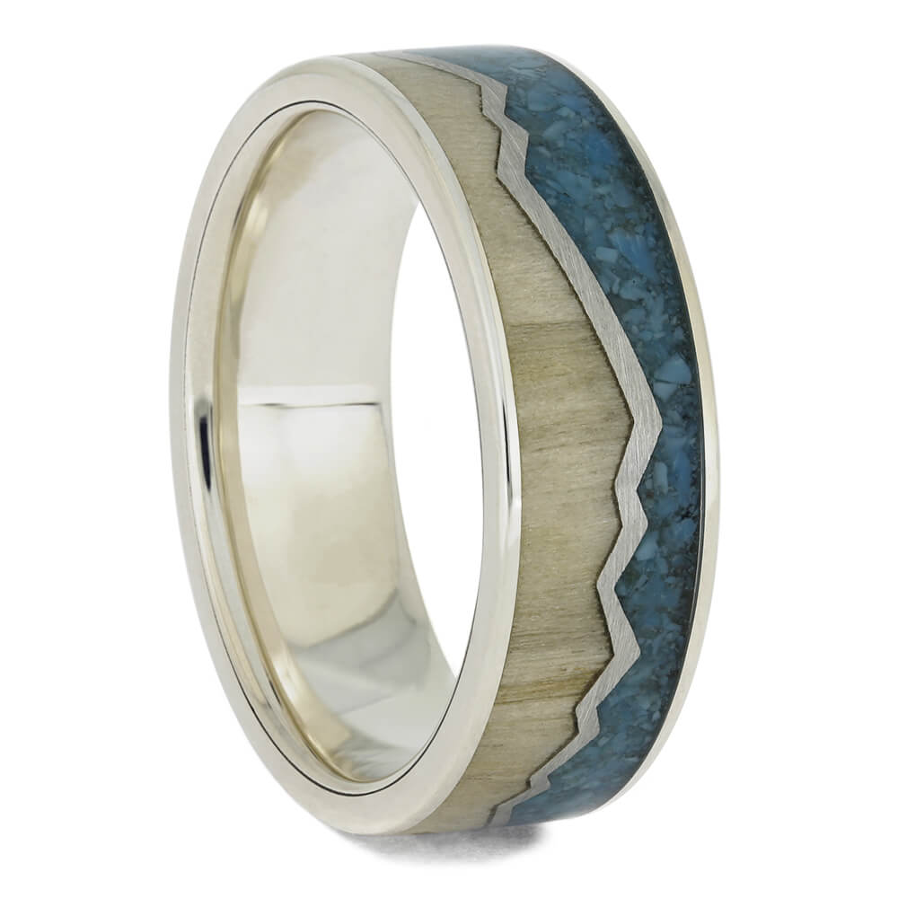 Turquoise & Wood Mountain Wedding Band, Size 11.25-RS11434 - Jewelry by Johan