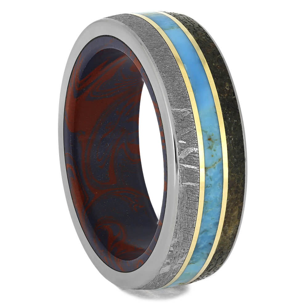 Meteorite Wedding Band with Dinosaur Bone and Turquoise, Size 11.75-RS11435 - Jewelry by Johan