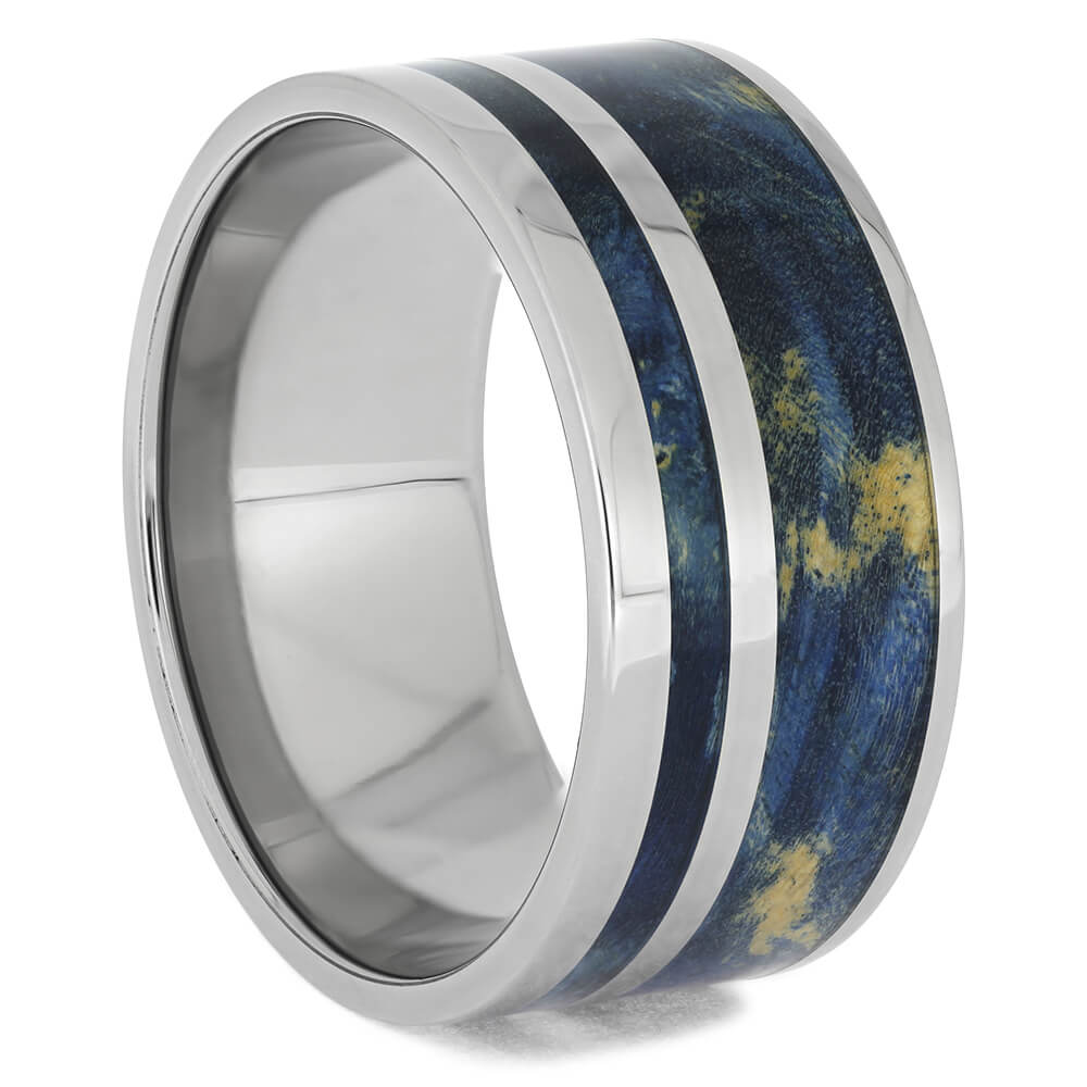 Plus Size Blue Wood Wedding Band, Size 14.75-RS11436 - Jewelry by Johan