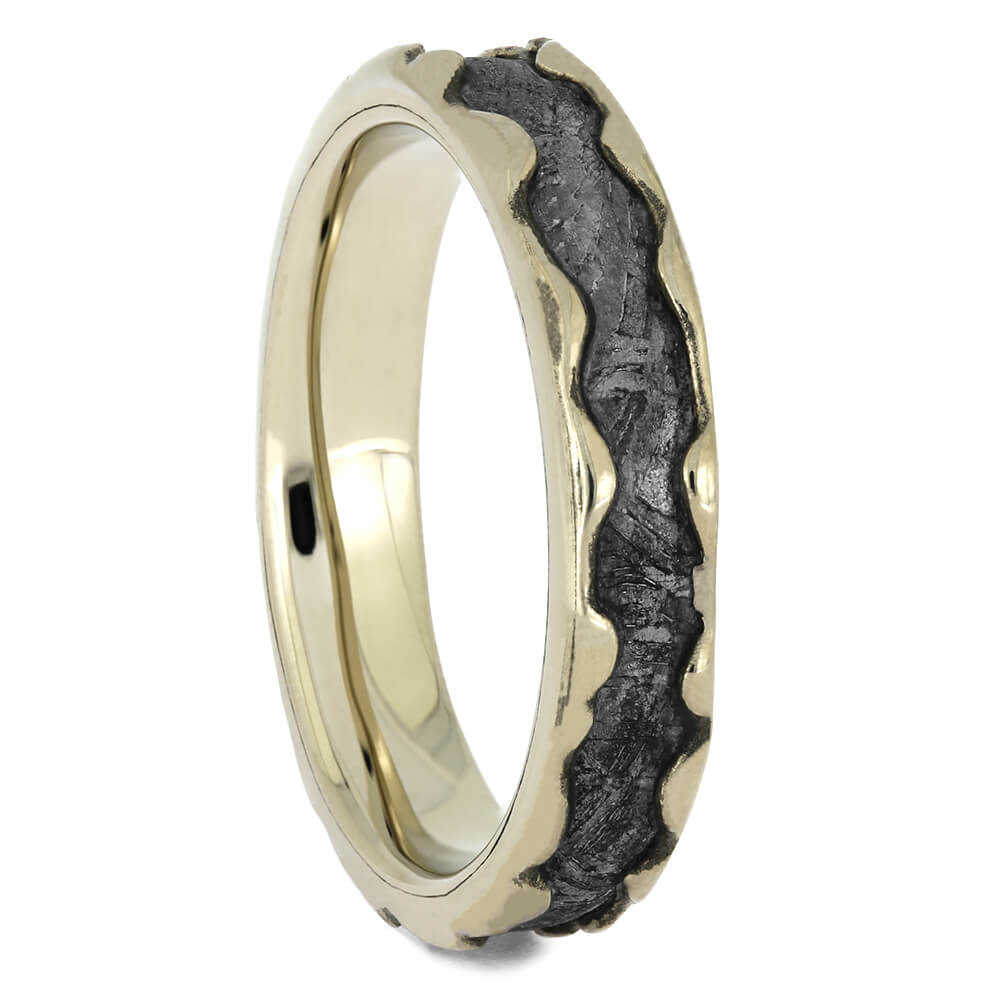 Meteorite Wedding Band with Wavy White Gold Edges, Size 8-RS11438 - Jewelry by Johan