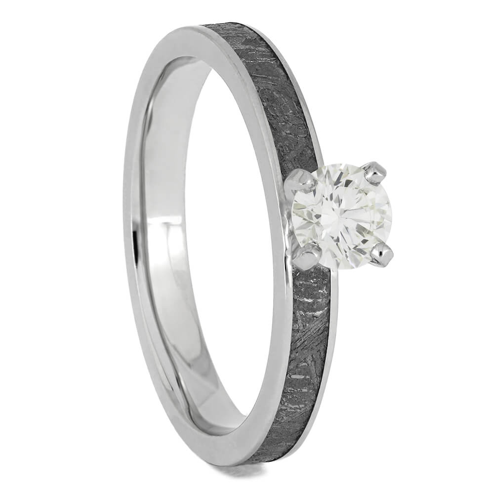 Platinum Diamond Engagement Ring with Meteorite, Size 9-RS11439 - Jewelry by Johan