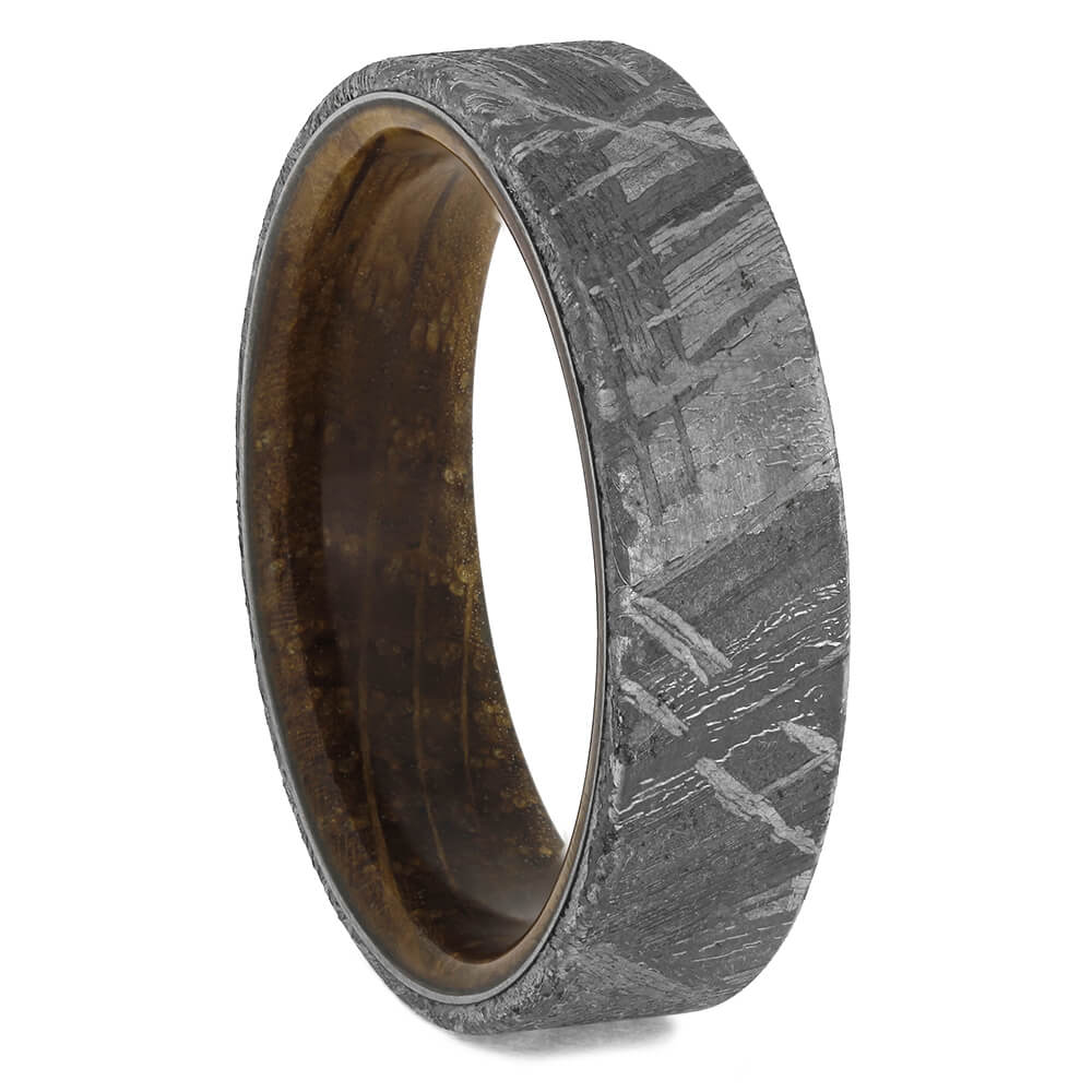 Whiskey Barrel Wood & Meteorite Wedding Band, Size 12.5-RS11443 - Jewelry by Johan