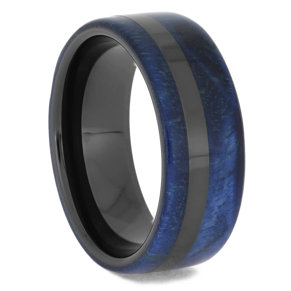 Men's Blue Wood Wedding Band, Size 9-RS11445 - Jewelry by Johan