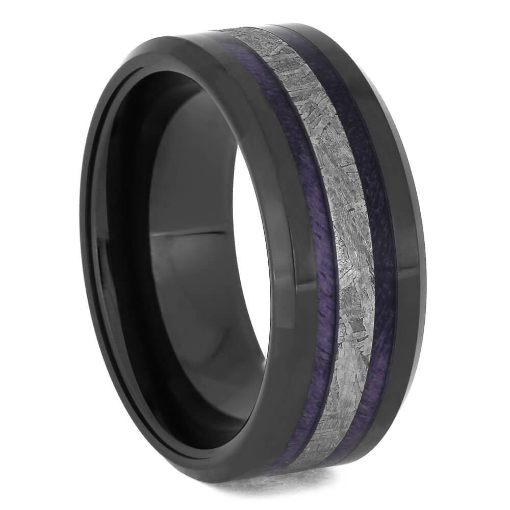 Black Ceramic Wedding Band with Purple Wood and Meteorite, Size 6-RS11448 - Jewelry by Johan