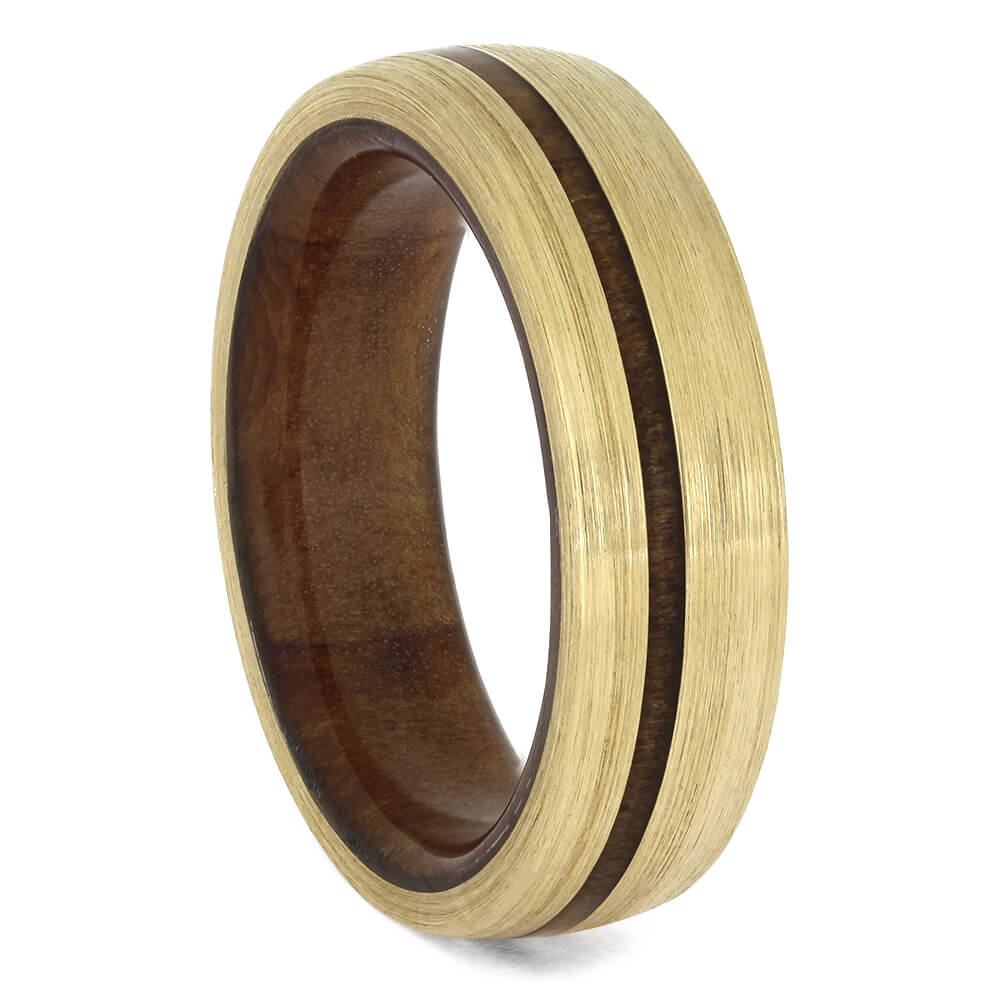 Brushed Yellow Gold Wedding Band with Redwood Sleeve, Size 6.25-RS11449 - Jewelry by Johan