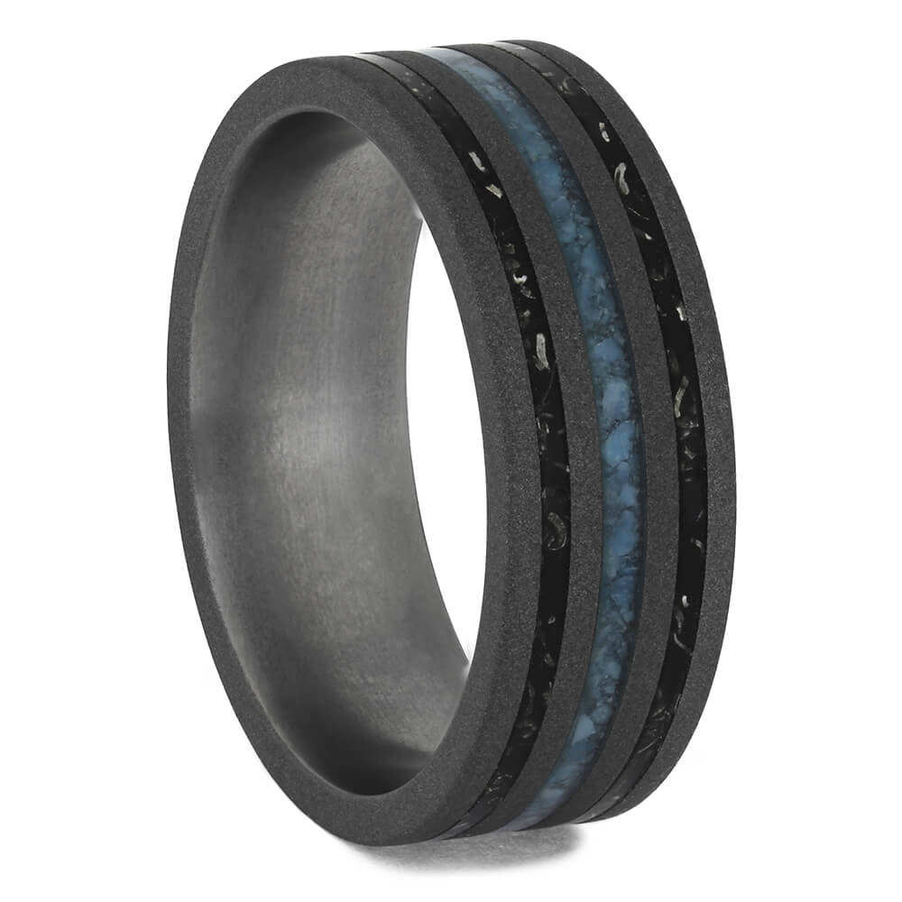 Black & Blue Wedding Band With Stardust™ and Turquoise, Size 9.75-RS11459 - Jewelry by Johan