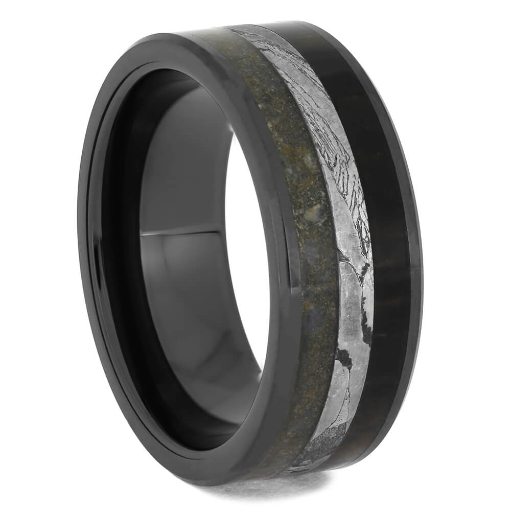 Black Ceramic Wedding Band with Fossil and Seymchan Meteorite, Size 8-RS11465 - Jewelry by Johan