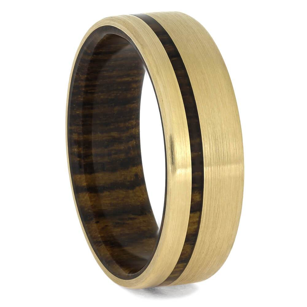 Solid Gold Wedding Band with Bocote Wood - Jewelry by Johan