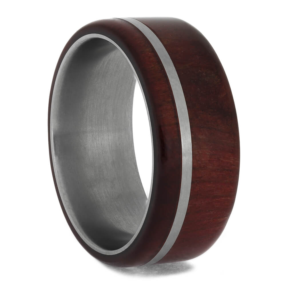 Ruby Redwood Men's Wedding Band with Pinstripe, Size 6.5-RS11469 - Jewelry by Johan