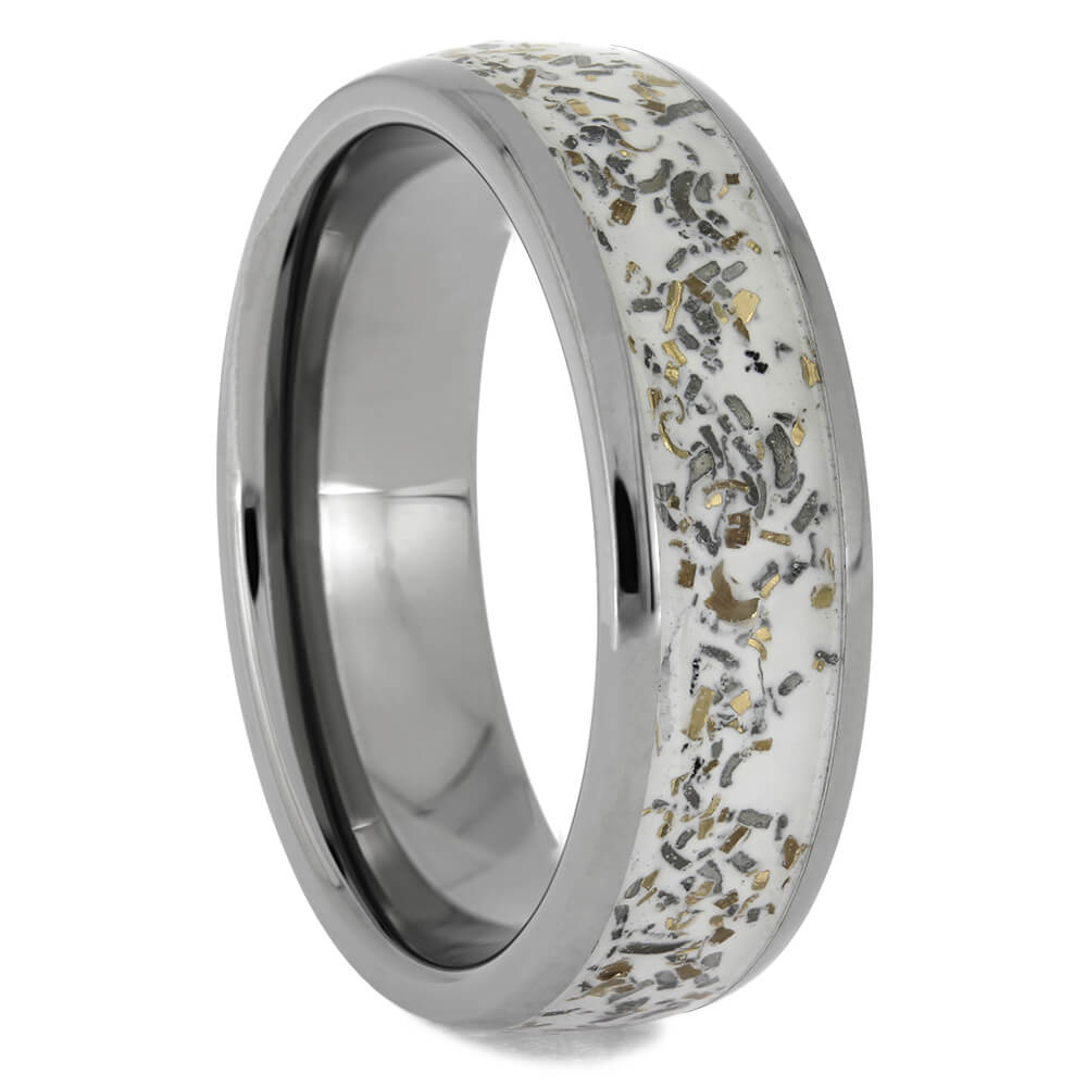 Stardust Wedding Band with Yellow Gold Flakes, Size 10.5-RS11473 - Jewelry by Johan