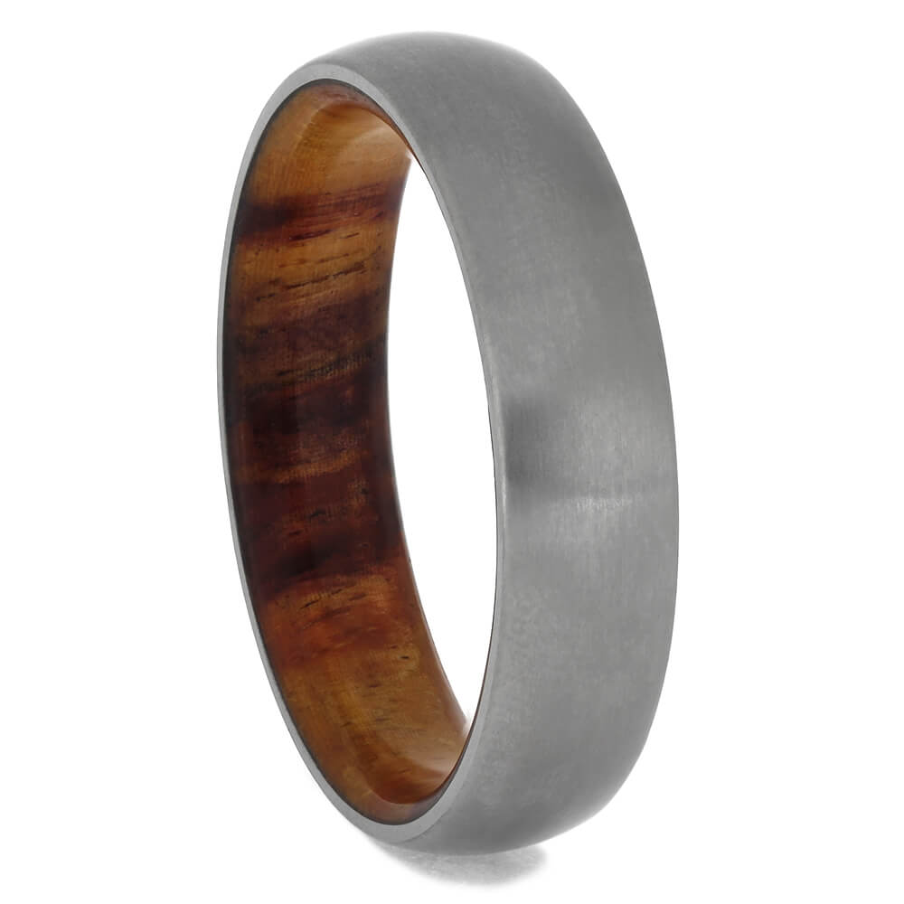 Tulipwood Wedding Band With Matte Titanium, Size 12-RS11475 - Jewelry by Johan