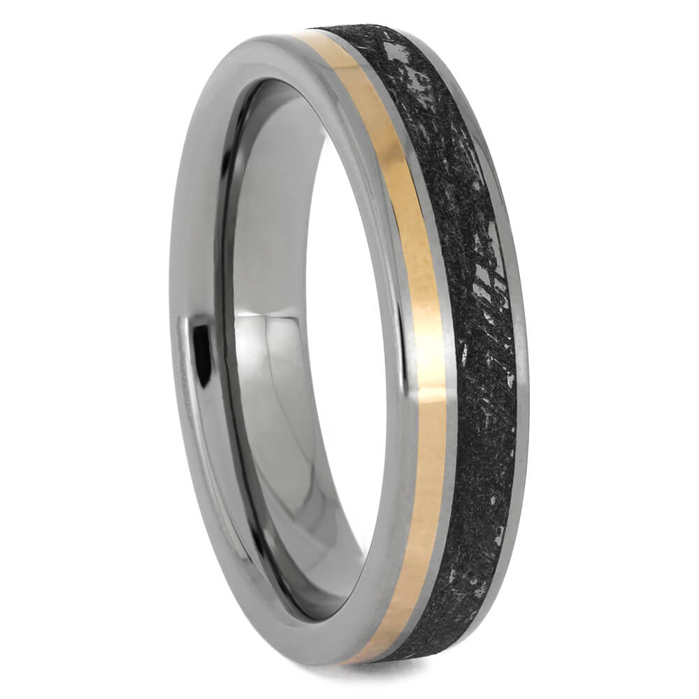 Mimetic Meteorite Wedding Band with 14k Rose Gold Pinstripe, Size 6.25-RS11476 - Jewelry by Johan