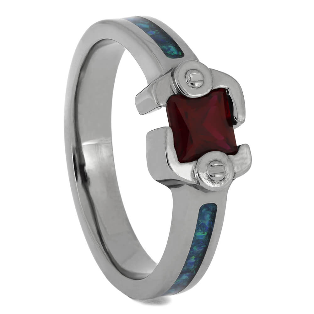 Ruby Engagement Ring with Synthetic Opal Shanks, Size 8-RS11477 - Jewelry by Johan