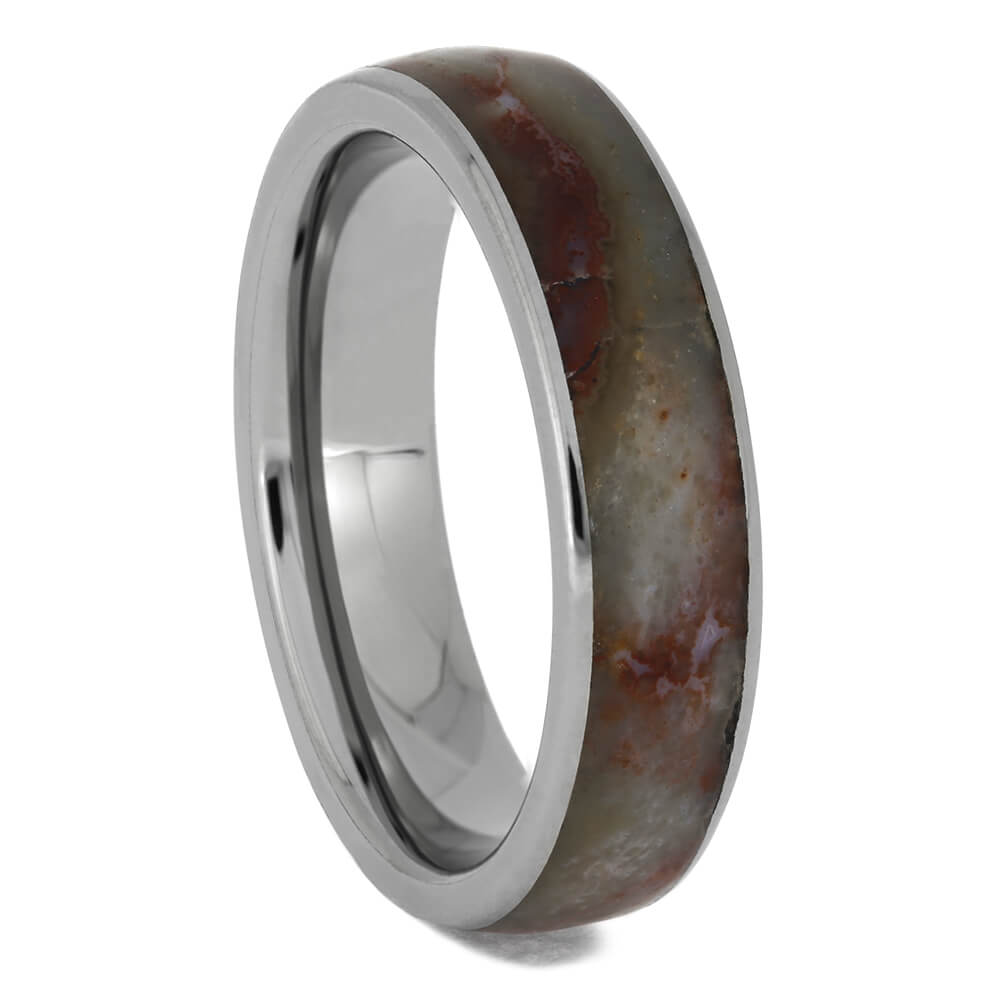 Petrified Wood Titanium Wedding Band, Size 6.5-RS11480 - Jewelry by Johan