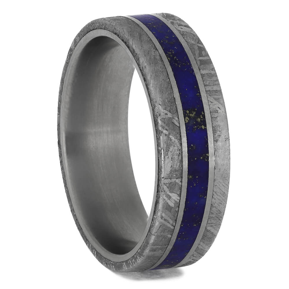 Meteorite & Lapis Lazuli Men's Wedding Band, Size 9.5-RS11483 - Jewelry by Johan