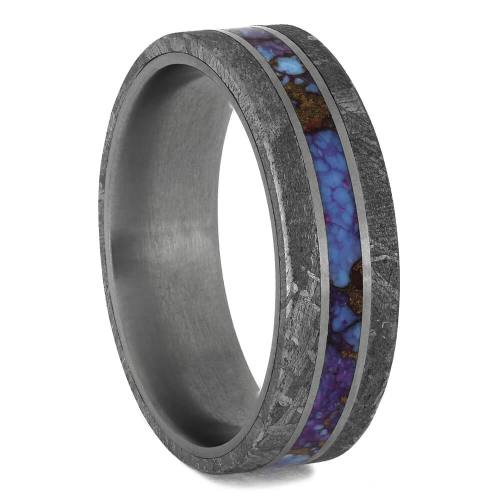 Turquoise Ring with Meteorite Edges in TItanium