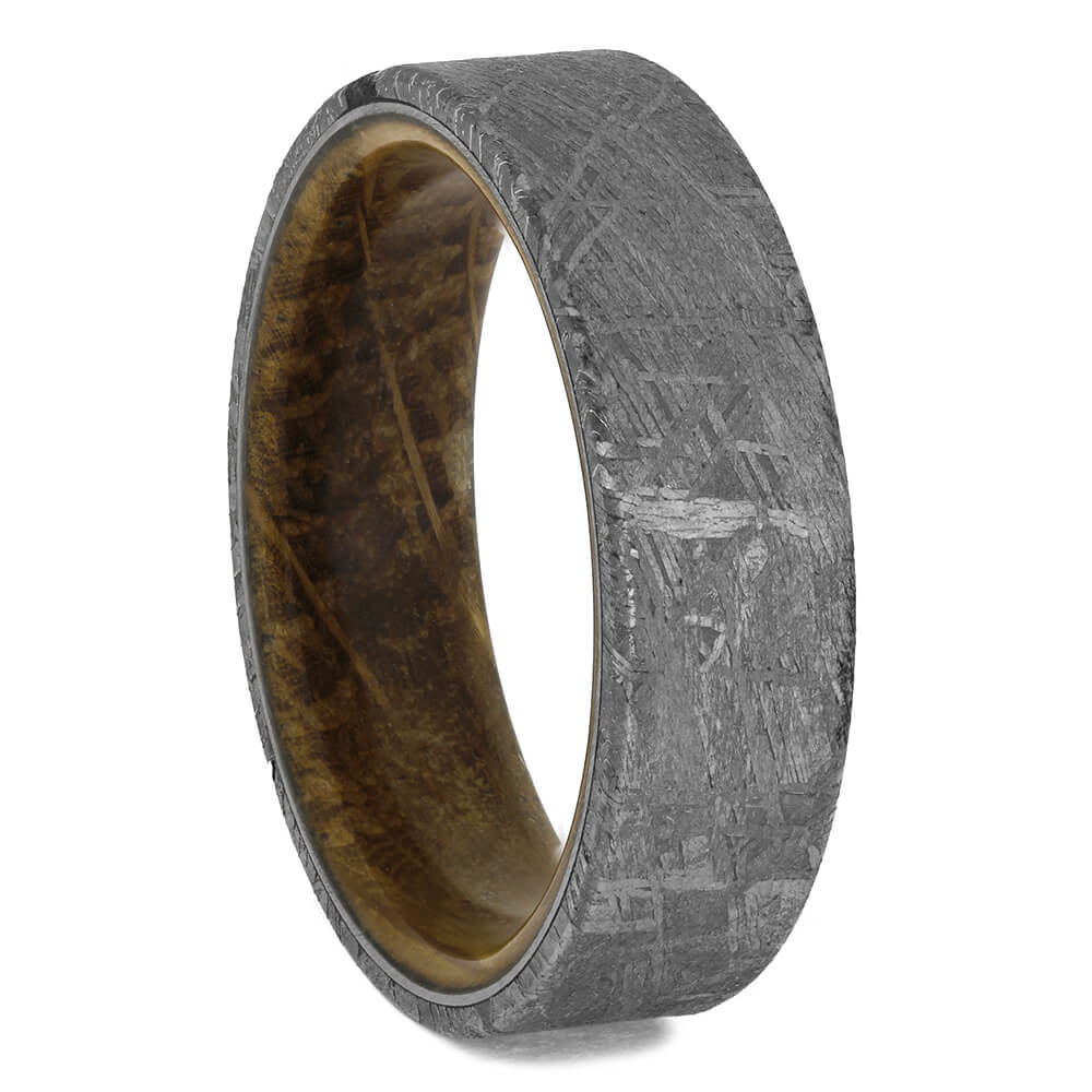 Whiskey Barrel Wood & Meteorite Wedding Band, Size 11.25-RS11485 - Jewelry by Johan