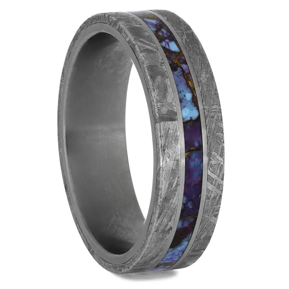 Meteorite Wedding Band with Mosaic Turquoise Center, Size 11-RS11492 - Jewelry by Johan