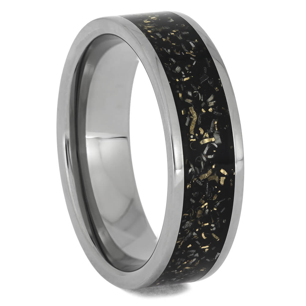 Black Stardust™ Titanium Wedding Band, Size 11-RS11493 - Jewelry by Johan