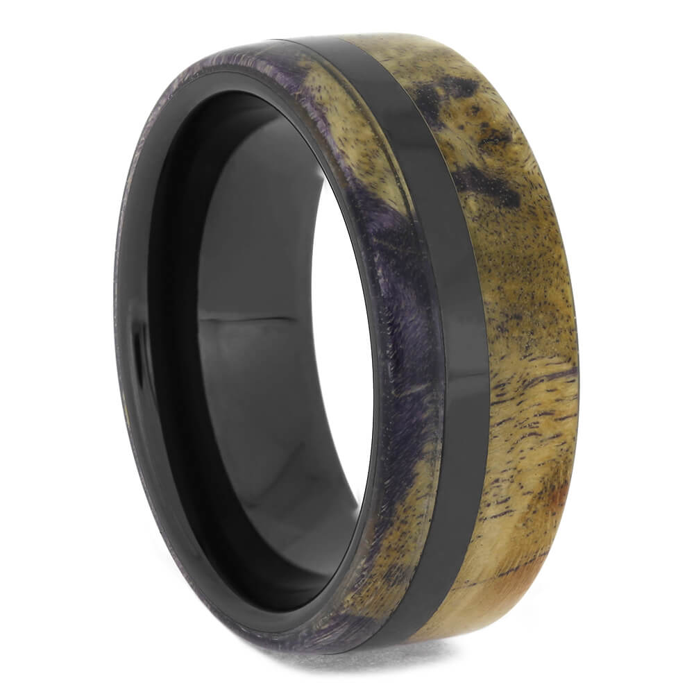 Purple Burl Wood Wedding Band with Black Ceramic Sleeve, Size 7.5-RS11494 - Jewelry by Johan
