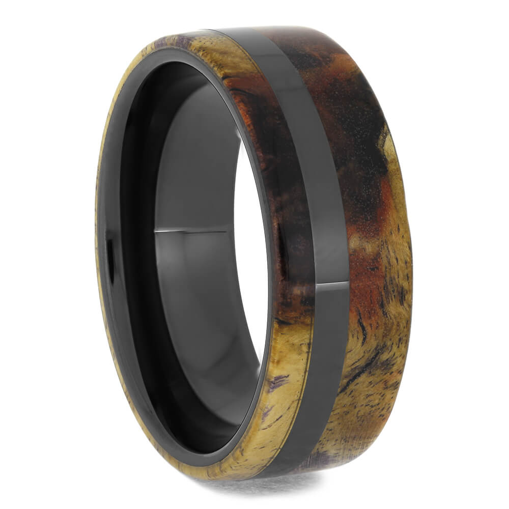 Purple and Yellow Burl Wood Wedding Band in Black Ceramic, Size 10-RS11500 - Jewelry by Johan