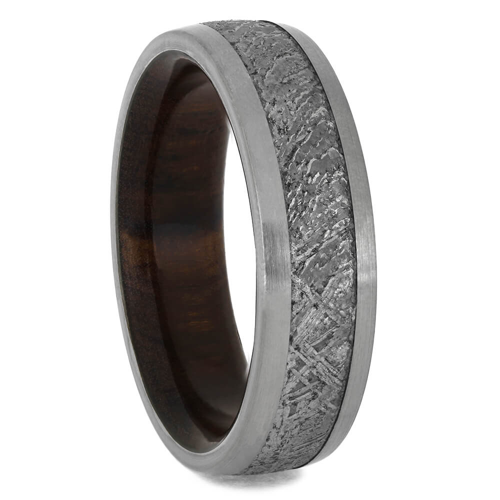 Ironwood Ring with Meteorite and Titanium, Size 11.25-RS11504 - Jewelry by Johan