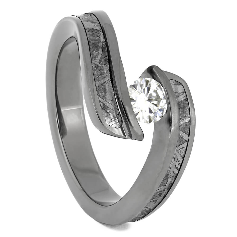 Titanium Moissanite and Meteorite Engagement Ring, Size 4.5-RS11505 - Jewelry by Johan