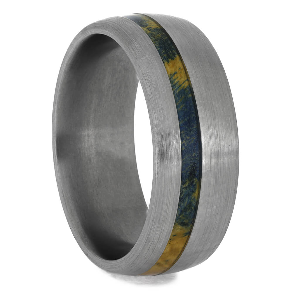 Blue Box Elder Wood Ring With Brushed Titanium, Size 8.5-RS11508 - Jewelry by Johan
