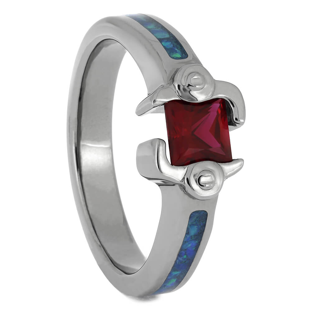 Titanium Ruby Engagement Ring with Crushed Opal, Size 8-RS11513 - Jewelry by Johan