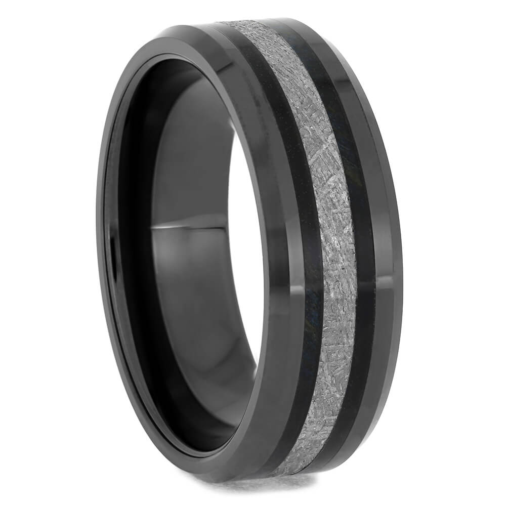 Black Wedding Band With Meteorite & Wood, Size 12-RS11516 - Jewelry by Johan