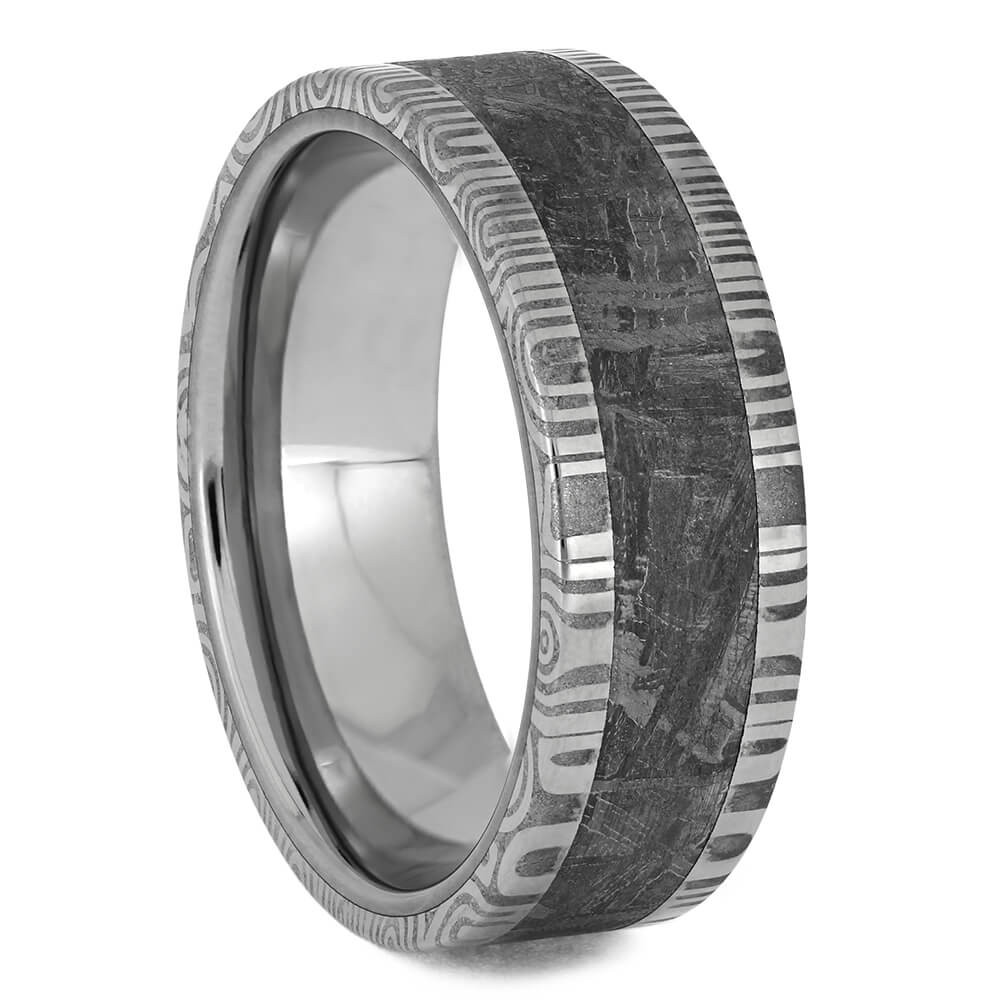 Damascus Steel Ring with Gibeon Meteorite, Size 8-RS11519 - Jewelry by Johan
