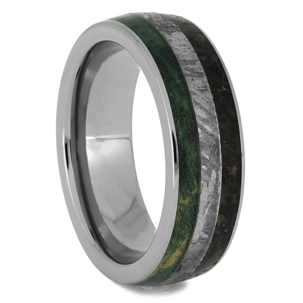 Meteorite, Dino & Green Wood Men's Ring, Size 8.25-RS11520 - Jewelry by Johan