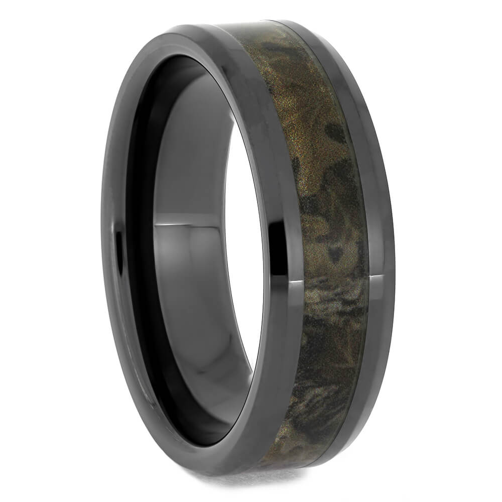 Men's Black Ceramic Wedding Band With Camo, Size 13-RS11522 - Jewelry by Johan