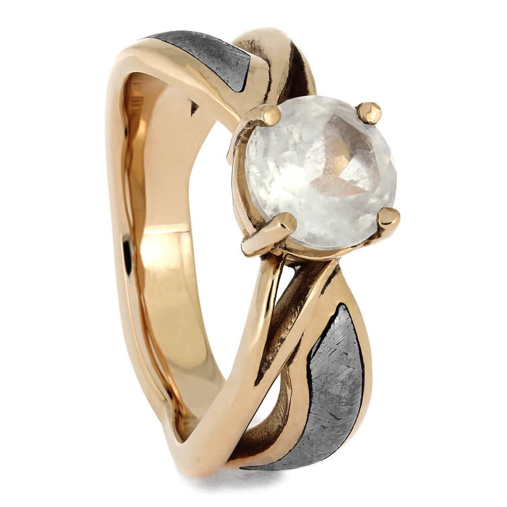 Moonstone Solitaire, Rose Gold Meteorite Engagement Ring, Size 5.5-RS11523 - Jewelry by Johan