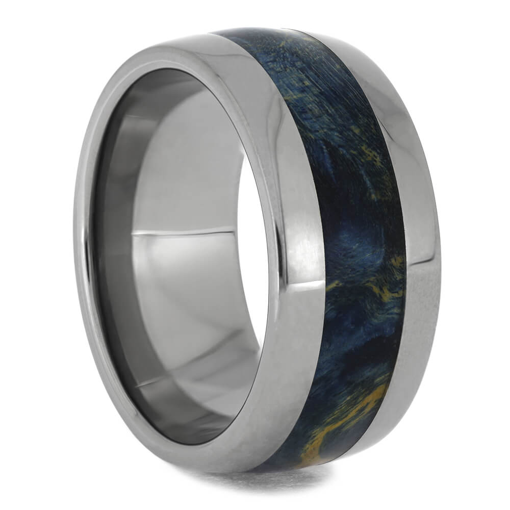 Blue Box Elder Burl Wood Ring In Titanium, Size 9-RS11525 - Jewelry by Johan