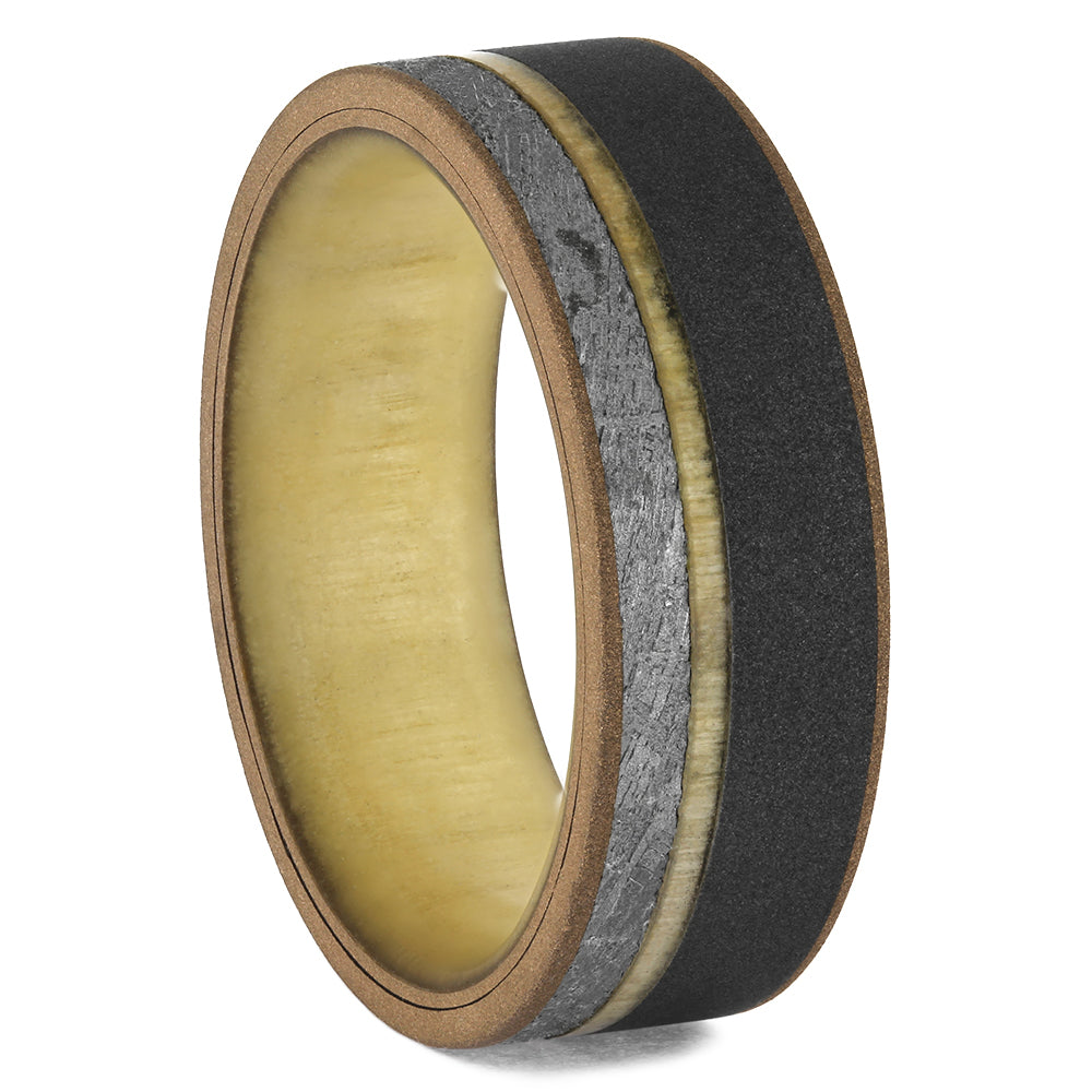 Titanium Ring with Meteorite, Rose Gold, and Aspen, Size 10-RS11527 - Jewelry by Johan