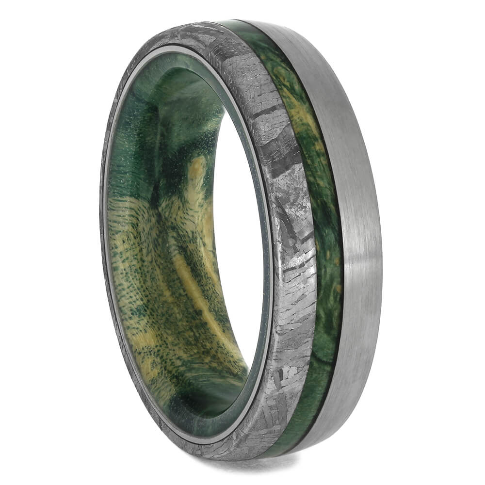 Meteorite and Green Wood Ring with Brushed Titanium, Size 7-RS11529 - Jewelry by Johan