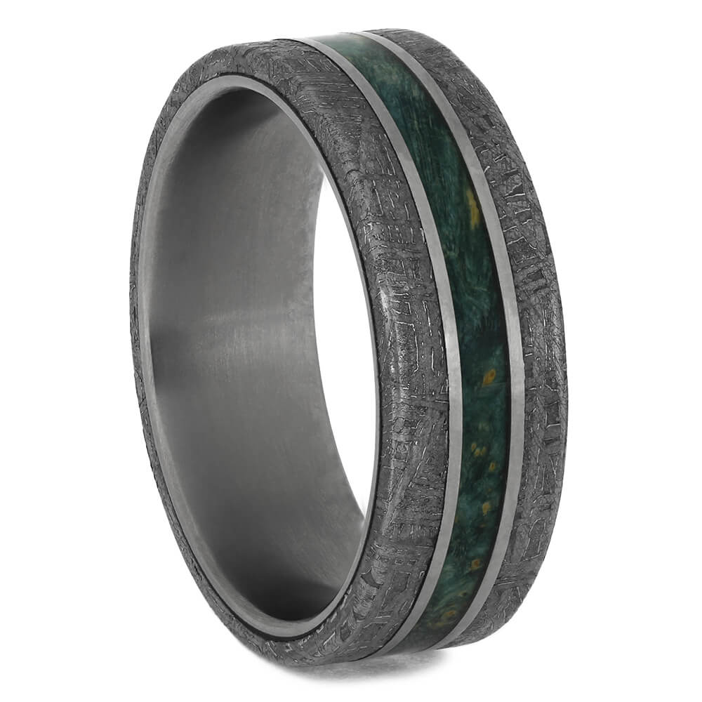Meteorite & Green Wood Ring for Man, Size 8-RS11531 - Jewelry by Johan