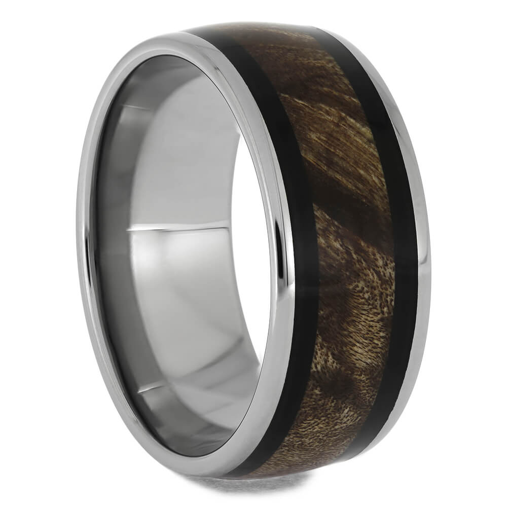 Maple Burl Wood and Blackwood Ring in Titanium, Size 12.5-RS11533 - Jewelry by Johan