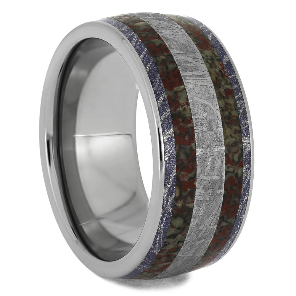 Wedding Band With Meteorite And Fossil Inlays, Size 9.75-RS11536 - Jewelry by Johan