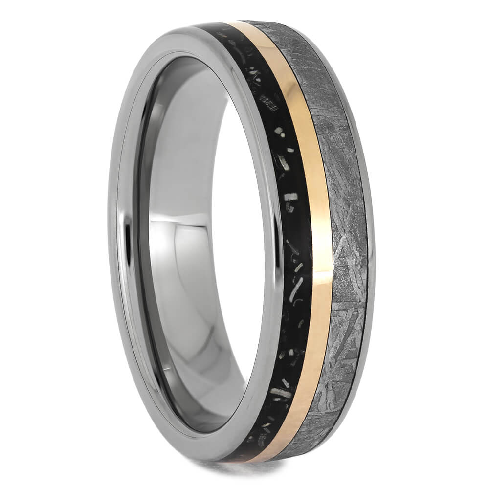 Stardust Wedding Band with Rose Gold Pinstripe, Size 9-RS11539 - Jewelry by Johan