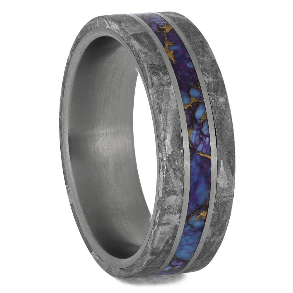 Meteorite & Gem Alloy Men's Wedding Band, Size 9-RS11540 - Jewelry by Johan