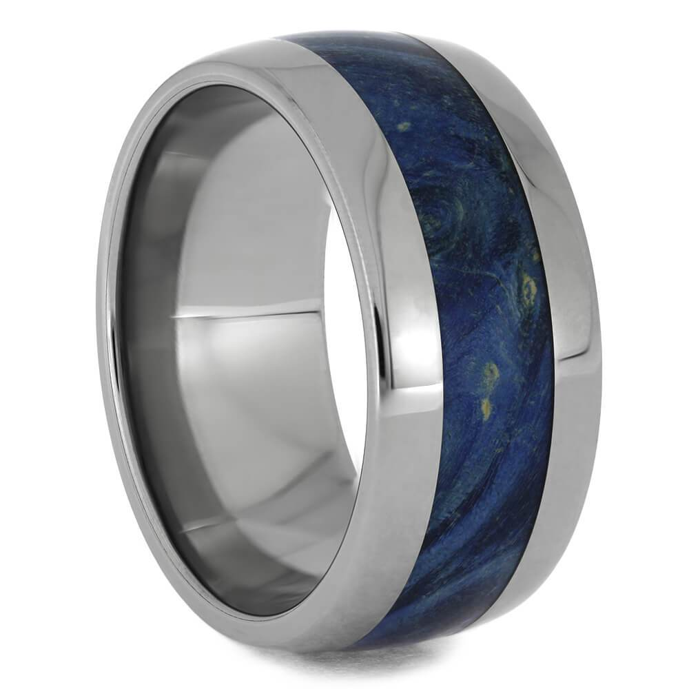 Blue Box Elder Burl Wood Ring, Titanium Wedding Band-2511 - Jewelry by Johan