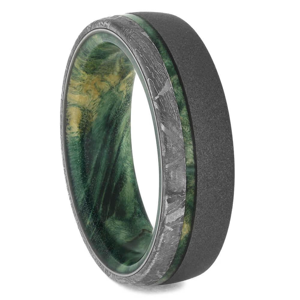 Meteorite & Green Wood Men's Wedding Band, Size 10-RS11543 - Jewelry by Johan