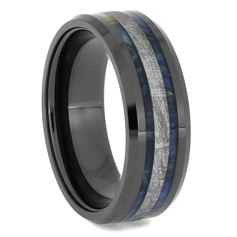 Meteorite & Blue Wood Wedding Band, Size 11-RS11544 - Jewelry by Johan
