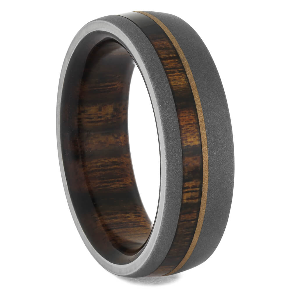 Sandblasted Titanium Ring With Rosewood And Yellow Gold, Size 9-RS11557 - Jewelry by Johan