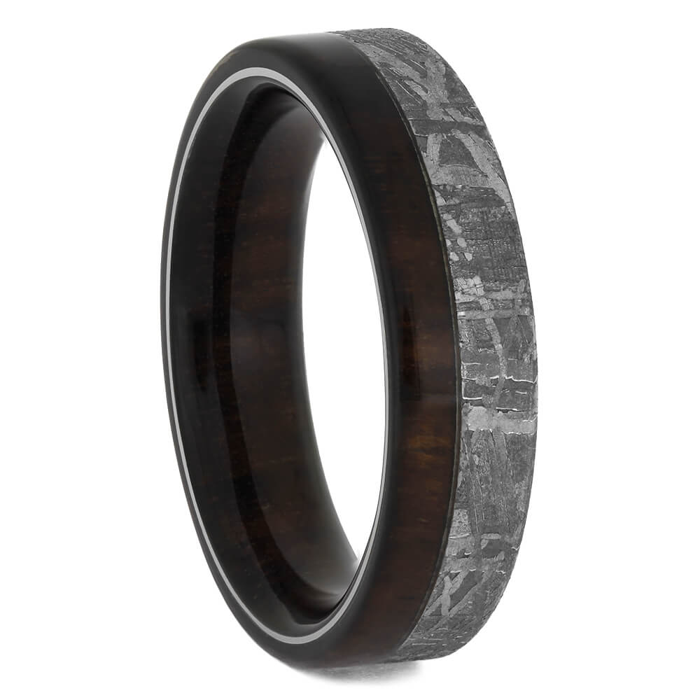 Meteorite Wedding Band with Amazon Rosewood, Size 9.5-RS11558 - Jewelry by Johan