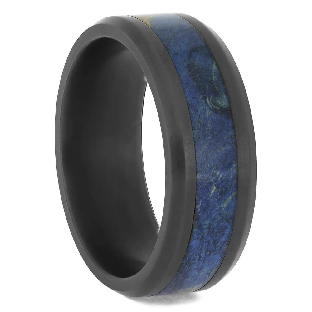 Men's Black Zirconium Ring with Blue Box Elder Wood, Size 10-RS11562 - Jewelry by Johan
