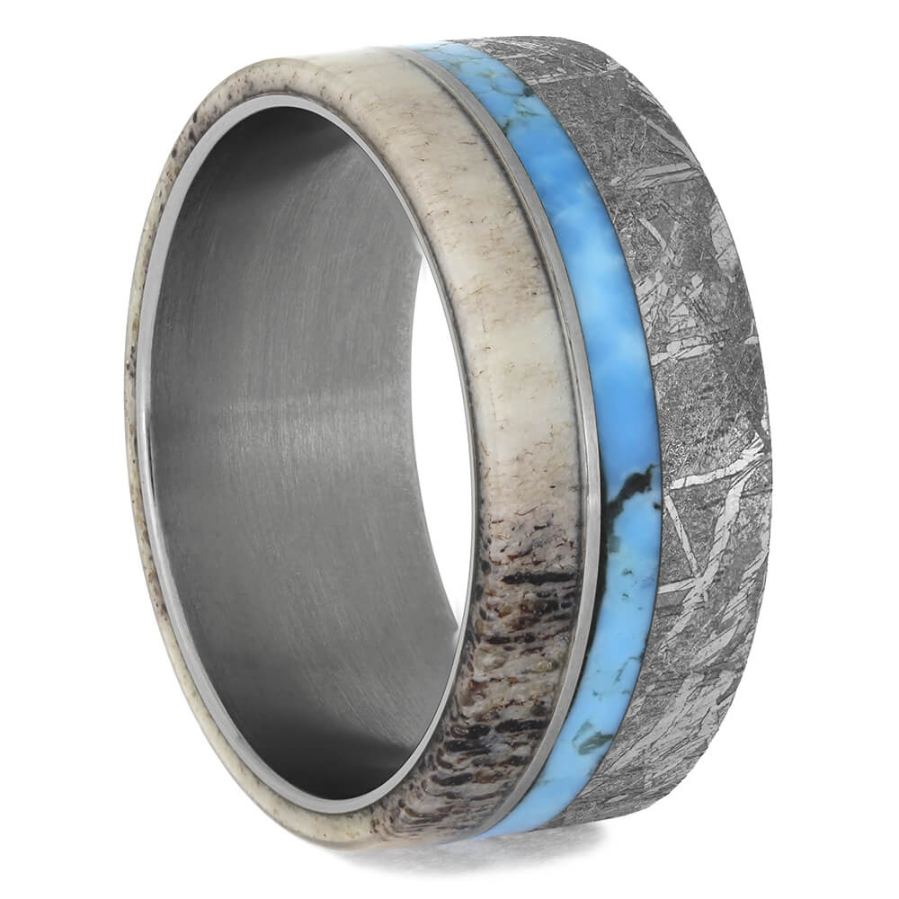 Turquoise Ring for Men with Antler and Meteorite, Size 10-RS11563 - Jewelry by Johan